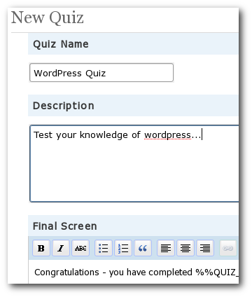 Quizzin WordPress Plugin - Create